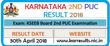 Karnataka 2nd PUC Results 2018