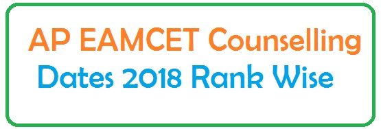 AP EAMCET Counselling Dates 2018 Rank Wise