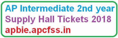 AP Intermediate 2nd year Supply Hall Tickets 2018 apbie.apcfss.in