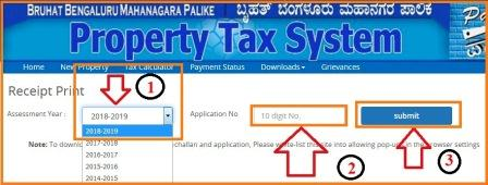 bangalore bbmp property tax Receipt Print 2018-2019