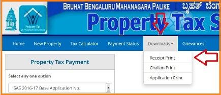 bbmp property tax Receipt Print 2018-2019