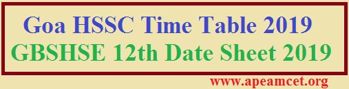 Goa HSSC Time Table 2019 GBSHSE 12th Date Sheet 2019