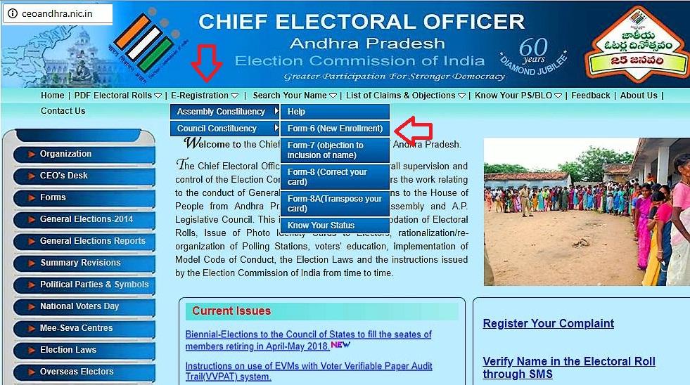 ceo andhra voter id registration website