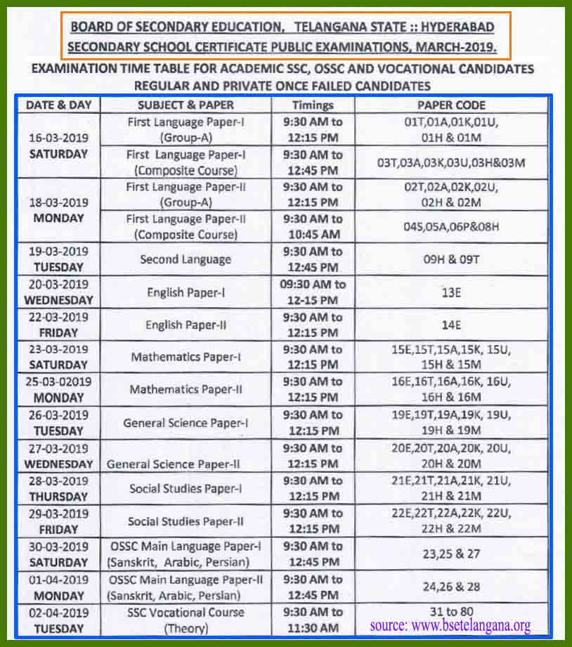 ts ssc time table 2019 pdf download