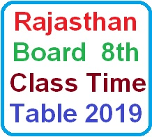 Rajasthan Board 8th Class Time Table 2019