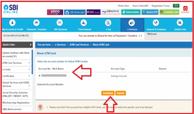 How to block my SBI ATM card