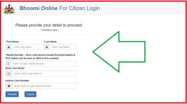 citizen login Land Records Bhoomi Government of Karnataka