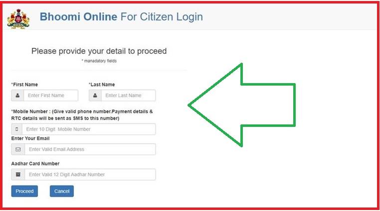 citizen login Land Records Bhoomi Government of Karnataka