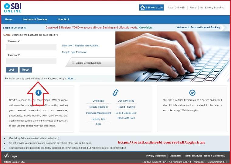 sbi net banking login onlinesbi com