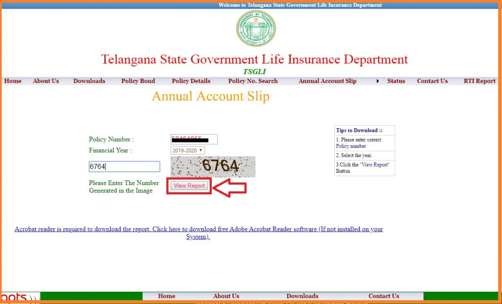 TSGLI Policy Bond Details & missing credits pdf Download