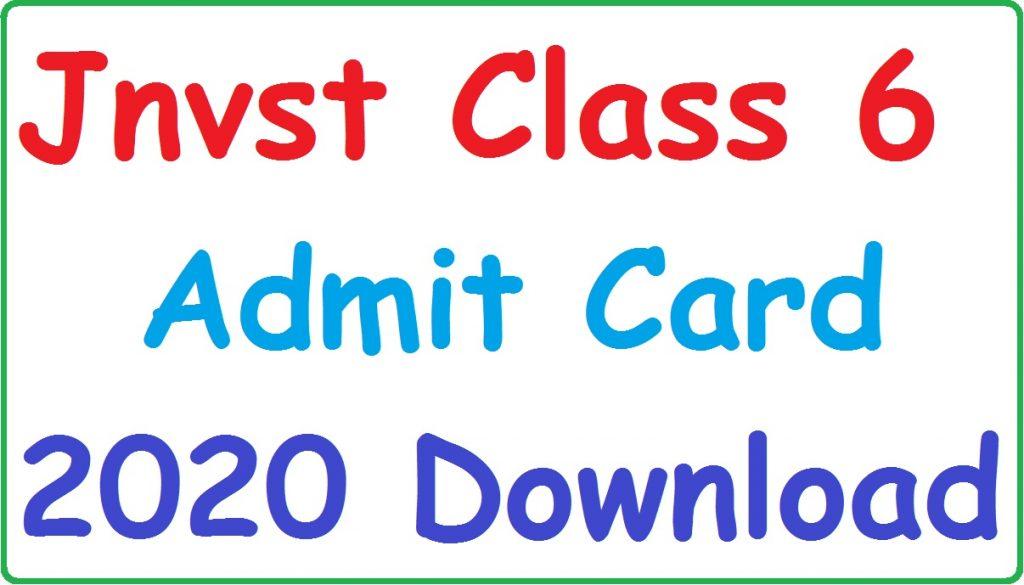 JNVST Admit Card Class 6 2020 Phase 2 download