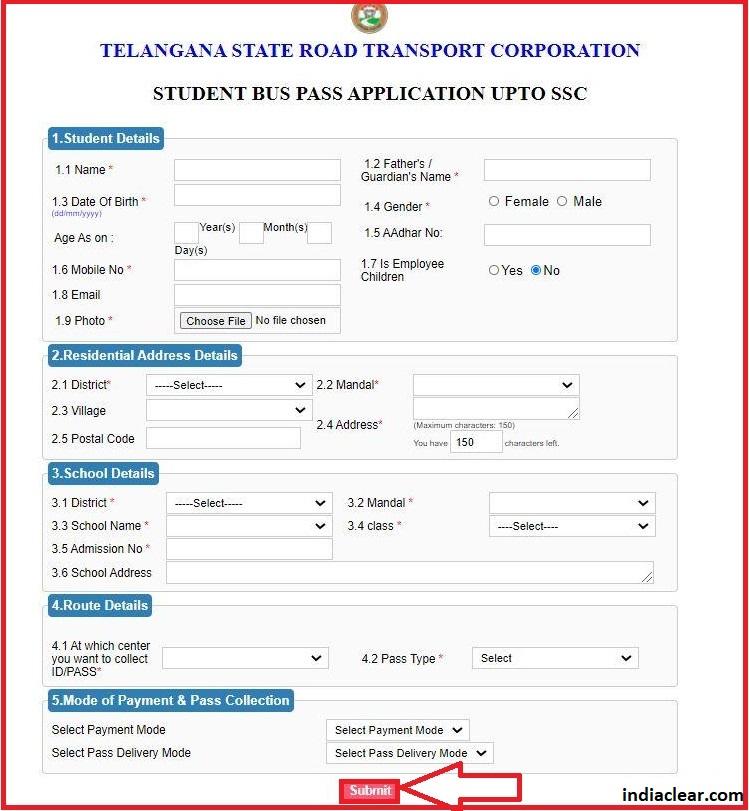 TS Bus Pass Online Application